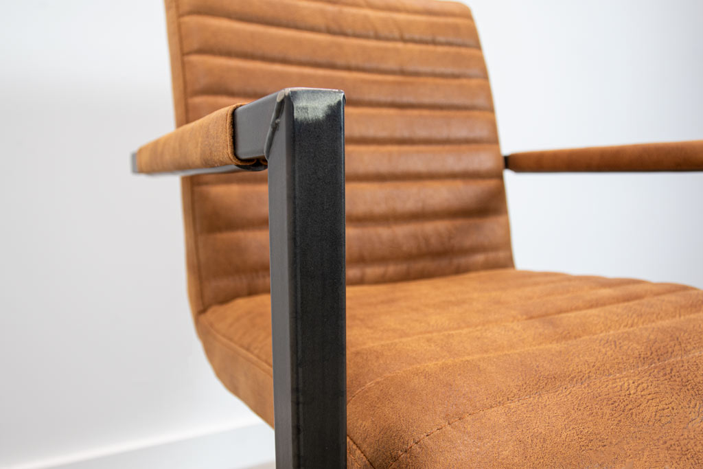 Industrie Freischwinger - Stoff Stuhl - Art. 55 - Tan