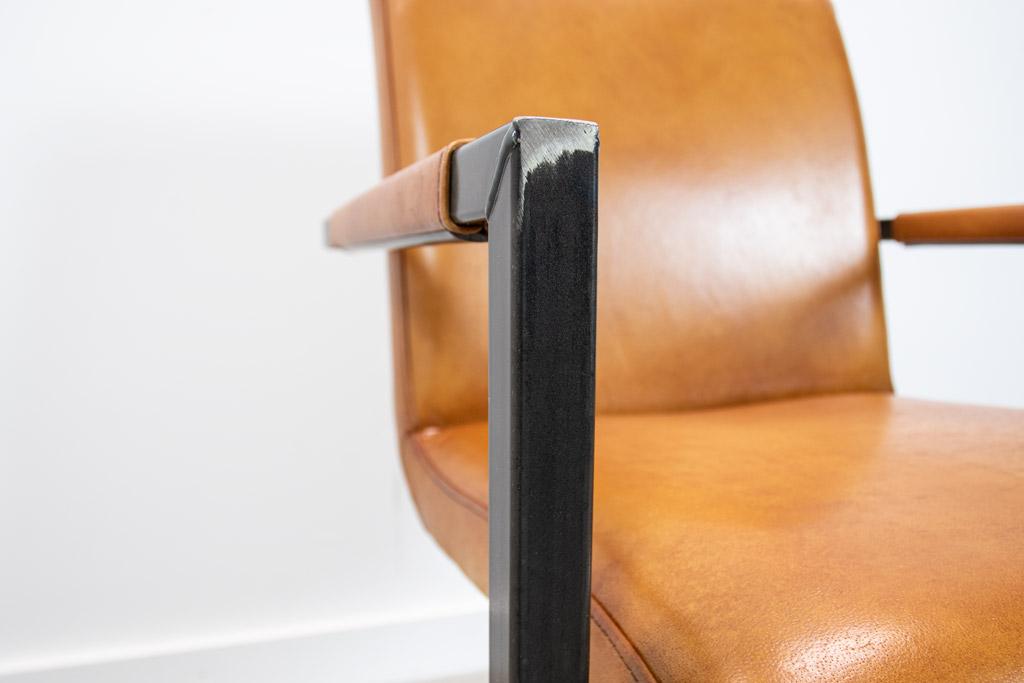 Industrie Freischwinger - Lederstuhl - Art. 59 - Camel
