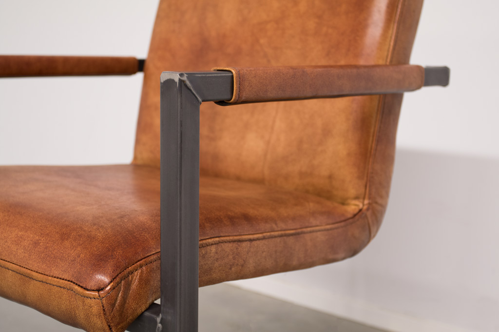 Industrie Freischwinger Soem - Lederstuhl / Stoff Stuhl - Industrial square