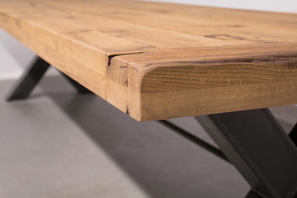 Industrie Design Esstisch Stahlkreuz mit Querstrebe - Alte Eiche - Art. 249