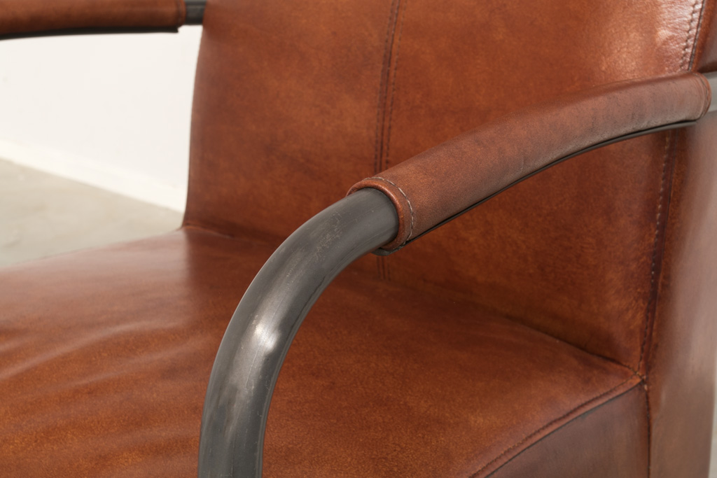 Lehnstuhl Zoë - Lederstuhl mit arm- Industrial round