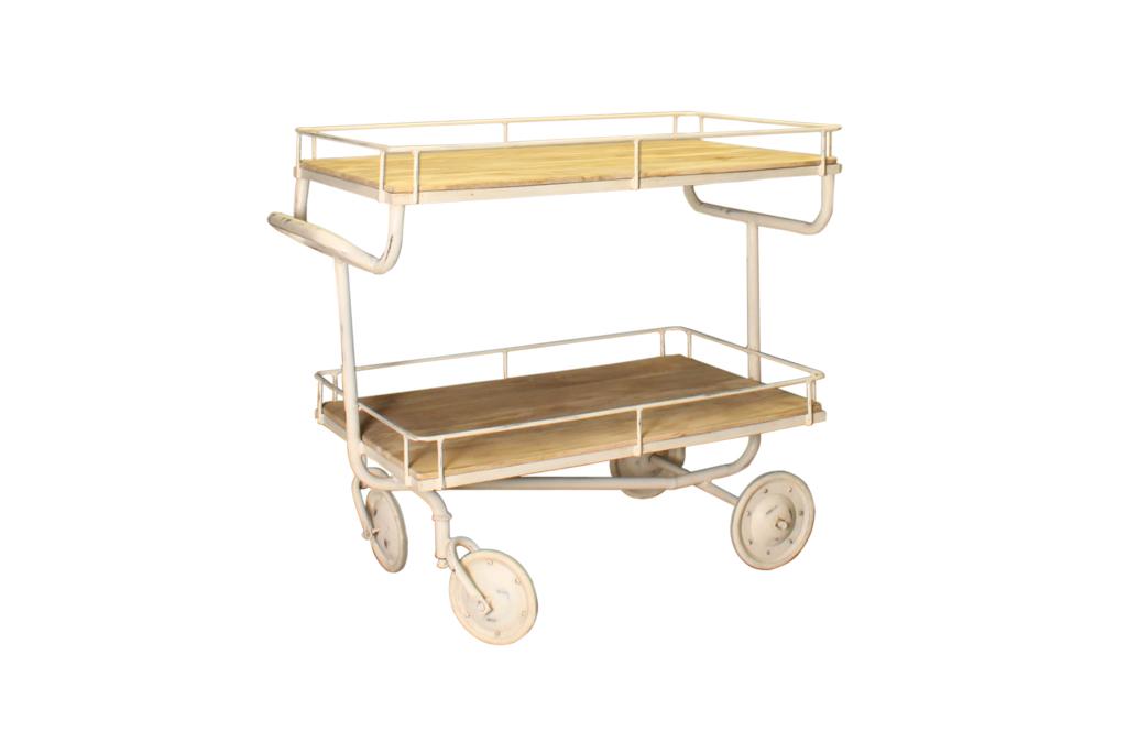 Industrieller Wagen mit 2 Regalbrettern – Metall mit Holz – Art. A102W