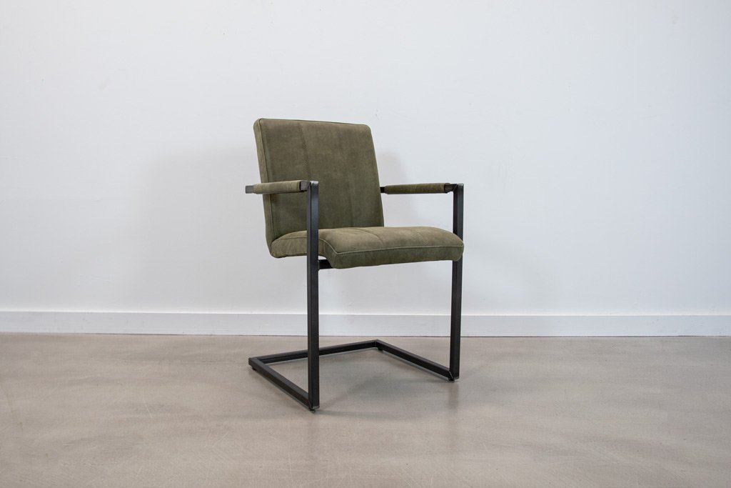 Industrie Freischwinger -  Lederstuhl - Art. 36 - Olive