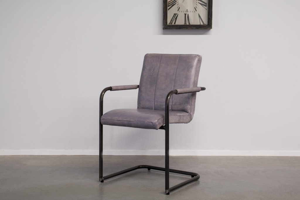 Buffalo Industrie Freischwinger - Vintage Lederstuhl - Art. 36WR
