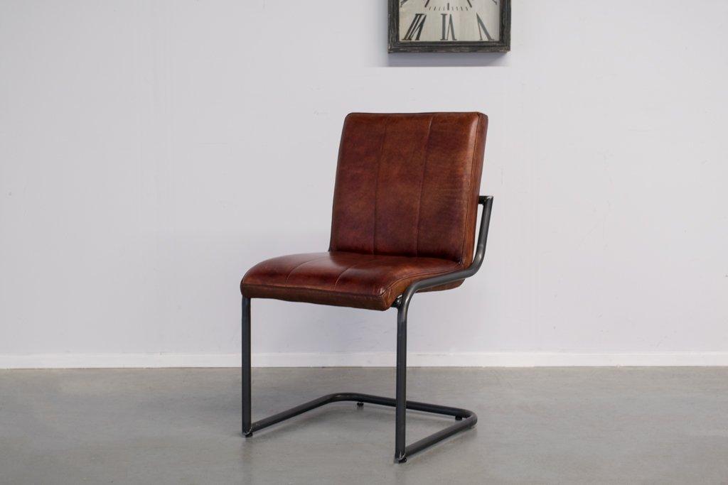 Buffalo Industrie Freischwinger - Vintage Lederstuhl Ohne Arm - Art. 36WR
