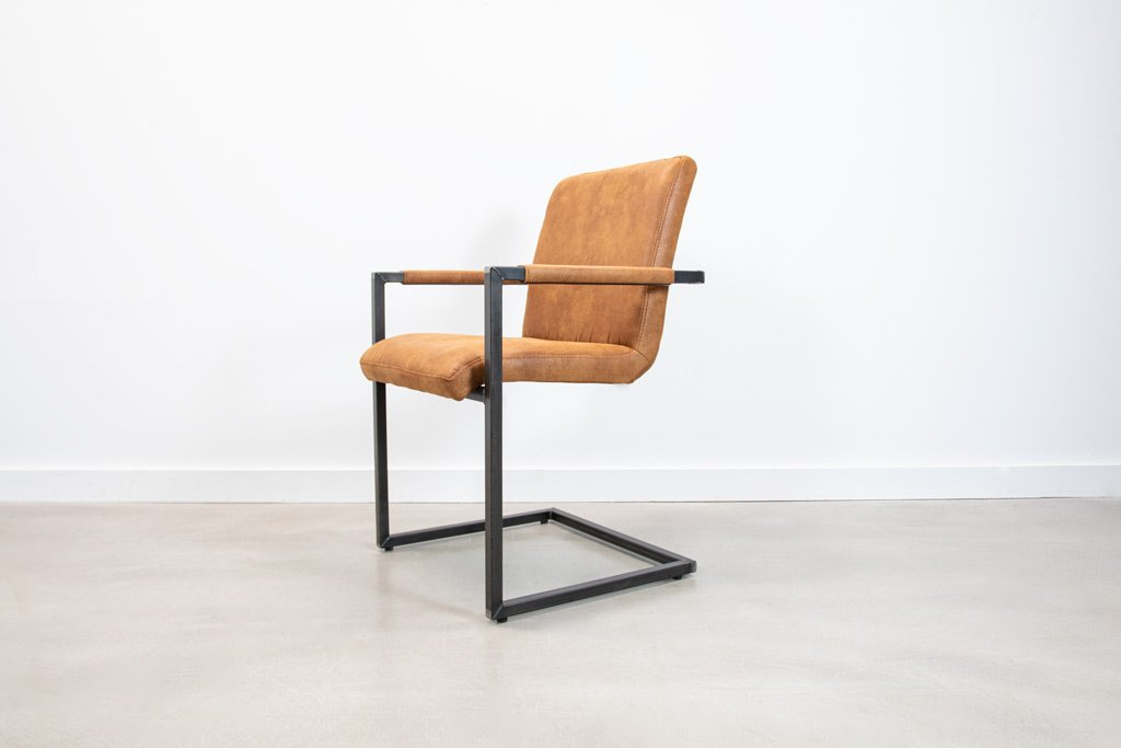 Industrie Freischwinger - Stoff Stuhl - Art. 59 - Tan