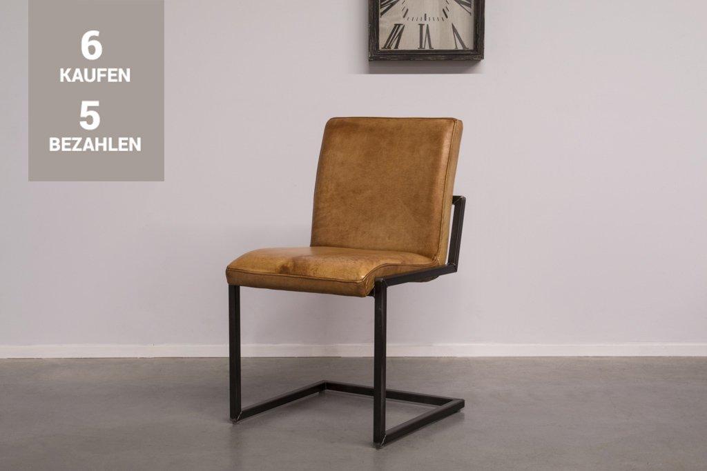 Buffalo Industrie Freischwinger - Vintage Lederstuhl Ohne Arm - Art. 59