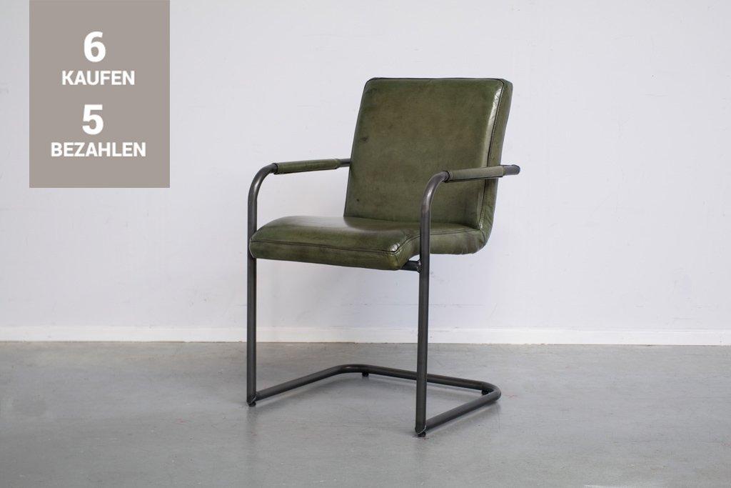 Buffalo Industrie Freischwinger - Vintage Lederstuhl - Art. 59WR