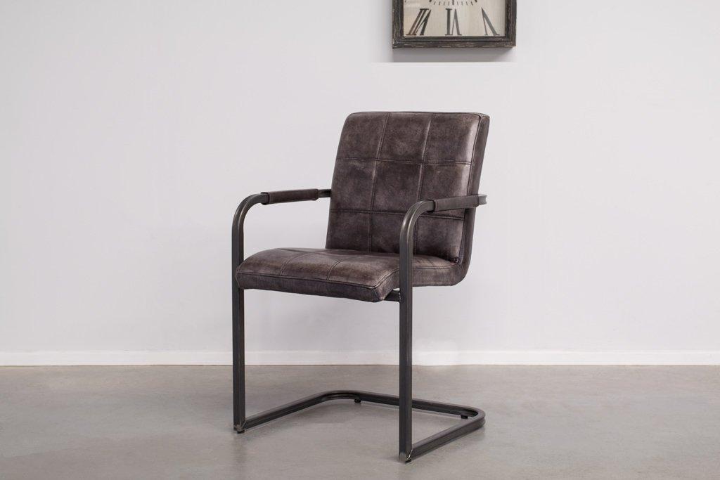 Buffalo Industrie Freischwinger - Vintage Lederstuhl - Art. 94SR