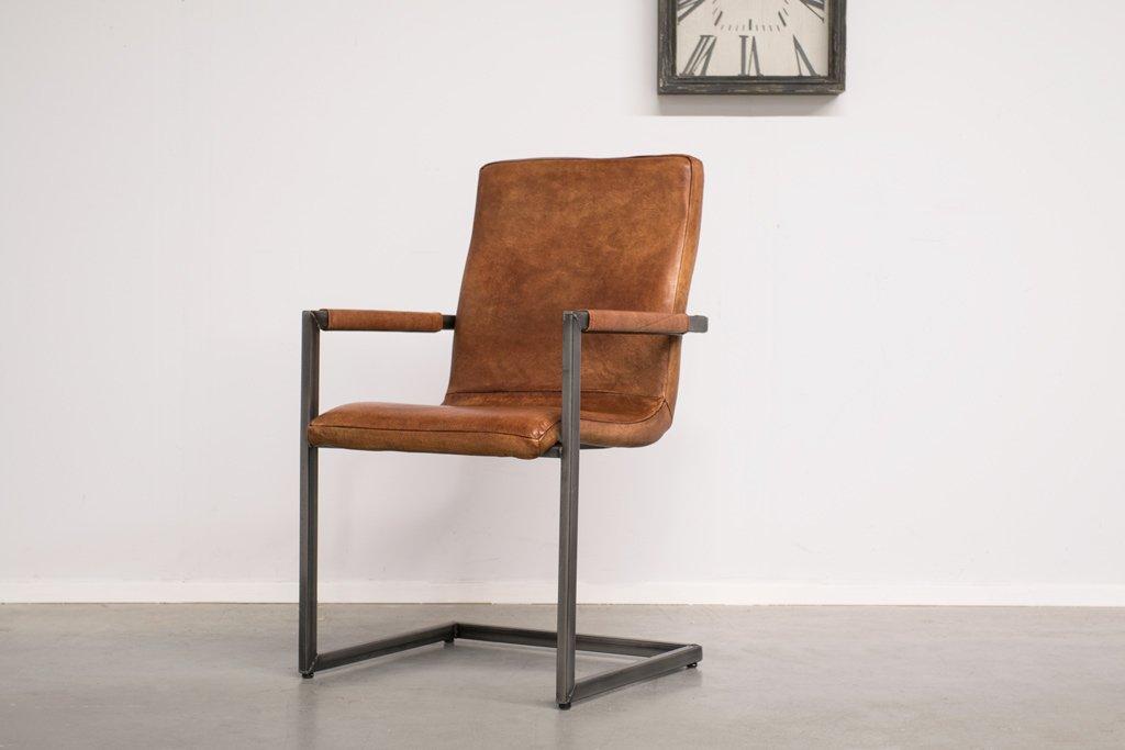 "Buffalo Industrie Freischwinger ""Wave"" - Vintage Leder Hohe Rückenlehne - Art. 142"