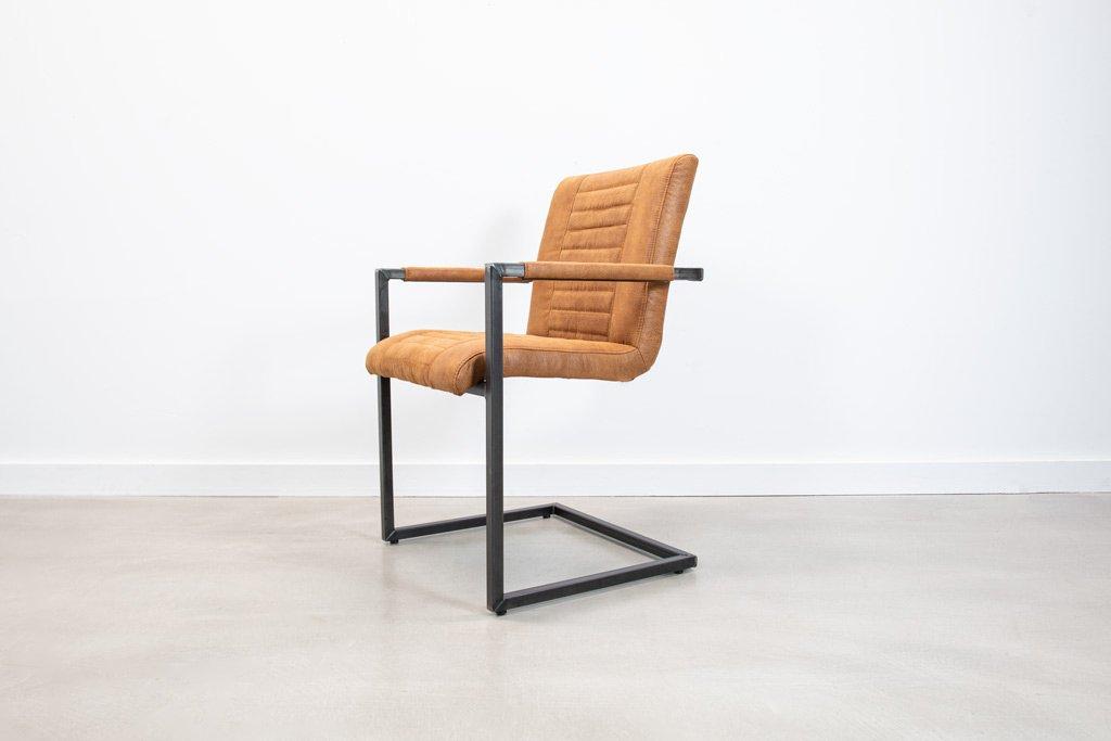 Industrie Freischwinger - Stoff Stuhl - Art. 176 - Tan