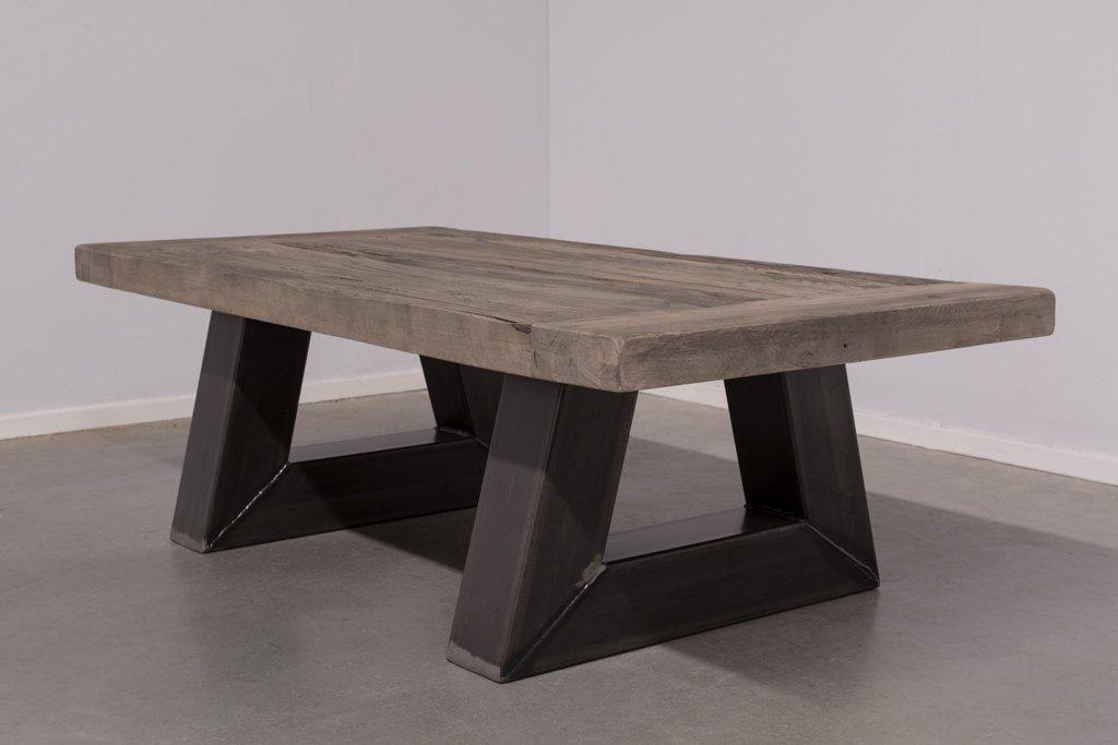 Industrie Design Couchtisch Stahl Trapez - Alte Eiche - Art. 295