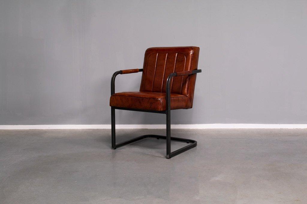 Buffalo Konferenz Freischwinger - Vintage Lederstuhl - Art. 252SR