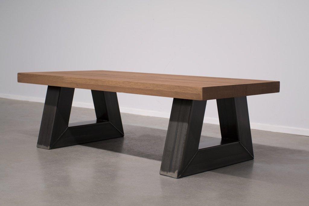 Industrie Design Couchtisch Stahl Trapez - Neue Eiche - Art. 295