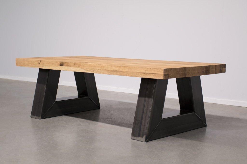 Industrie Design Couchtisch Stahl Trapez - Rustikale Eiche - Art. 295