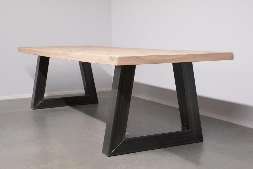 Industrie Design Esstisch Stahl Trapez - Alte Eiche - Art. 295