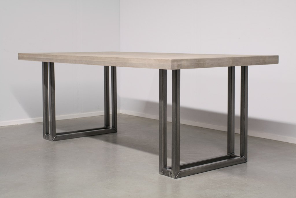 Industrie Design Esstisch U-Gestell Doppelt - Massivholz Eiche - Art. 303