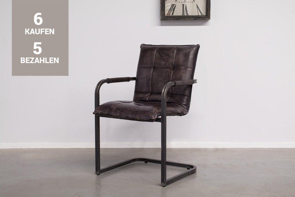 Buffalo Industrie Freischwinger - Vintage Lederstuhl - Art. 304SR