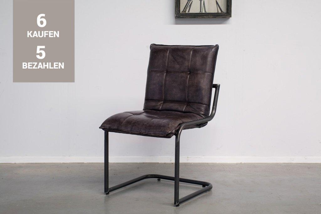 Buffalo Industrie Freischwinger - Vintage Lederstuhl - Art. 304WR