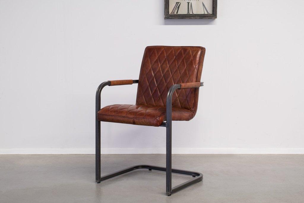 Buffalo Industrie Freischwinger - Vintage Lederstuhl - Art. 305SR