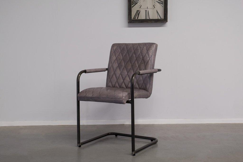 Buffalo Industrie Freischwinger - Vintage Lederstuhl - Art. 305WR
