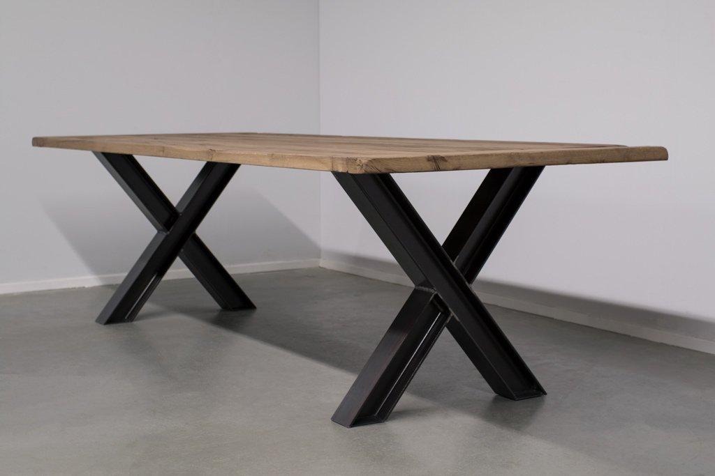 Industrie Design Esstisch X-Stahl Profil - Alte Eiche - Art. 311