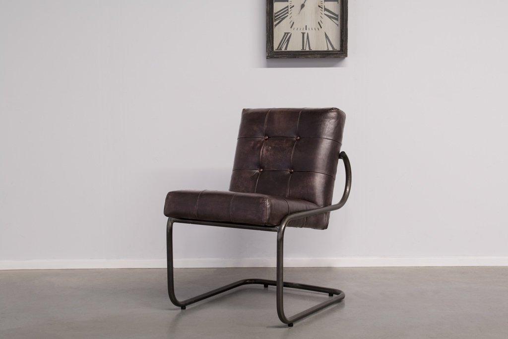 Buffalo Konferenz Freischwinger - Vintage Lederstuhl Runder Rahmen Ohne Arm - Art. 391RP