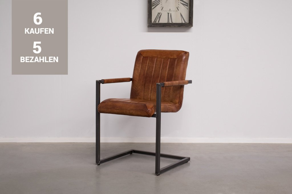 Buffalo Industrie Freischwinger - Vintage Lederstuhl - Art. 399