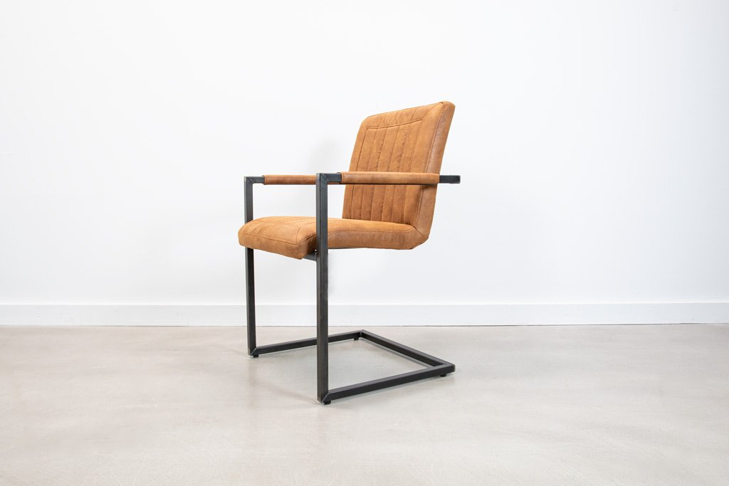 Industrie Freischwinger - Stoff Stuhl - Art. 399 - Tan