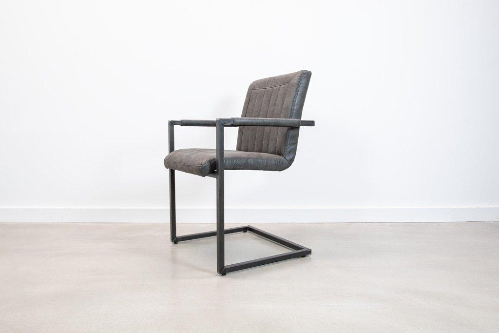 Industrie Freischwinger - Stoff Stuhl - Art. 176 - Antracite