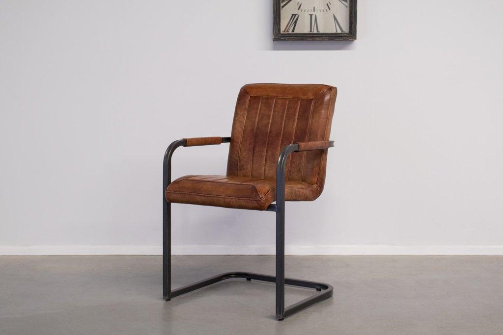 Buffalo Industrie Freischwinger - Vintage Lederstuhl - Art. 399SR