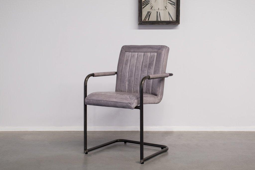 Buffalo Industrie Freischwinger - Vintage Lederstuhl - Art. 399WR