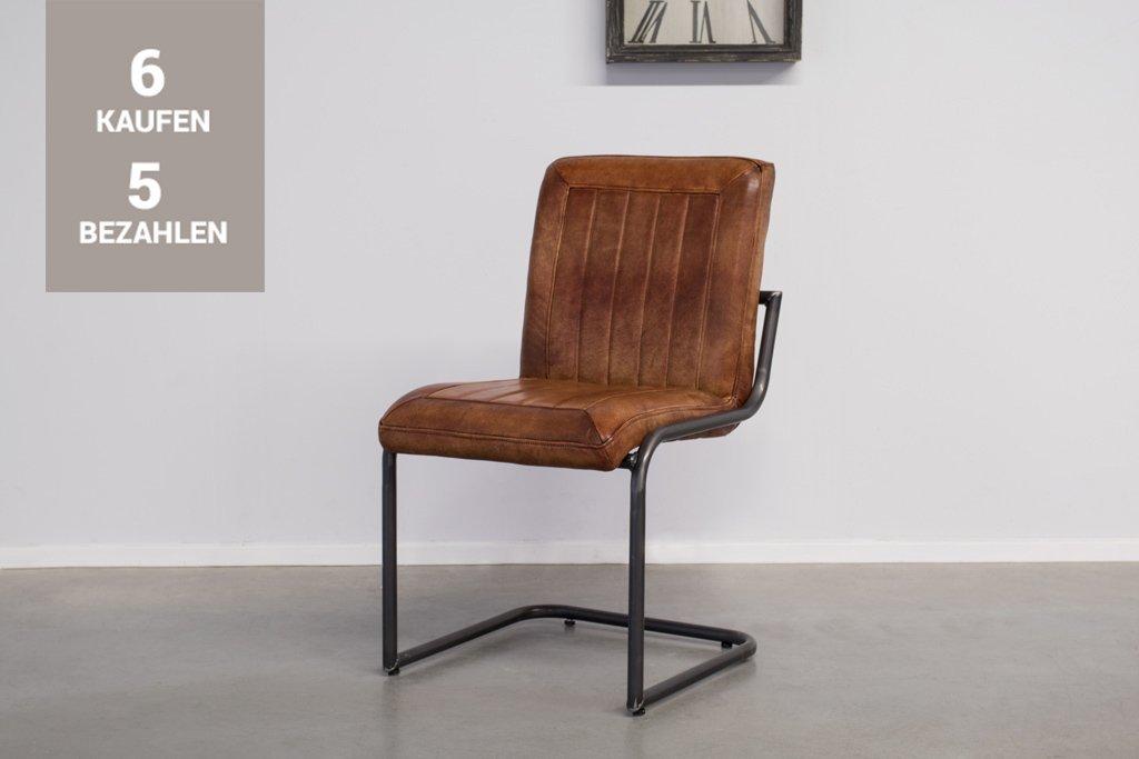 Buffalo Industrie Freischwinger - Vintage Lederstuhl Ohne Arm - Art. 399WR