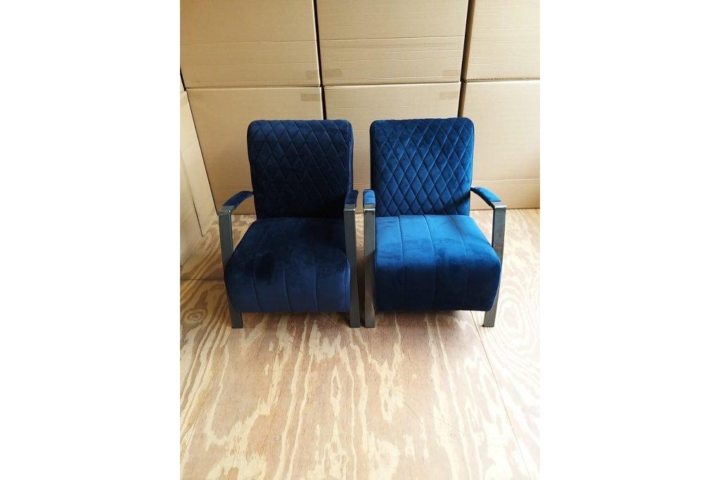 Industrie Sessel Flo | Samtstoff  Dunkelblau | 2 stücke