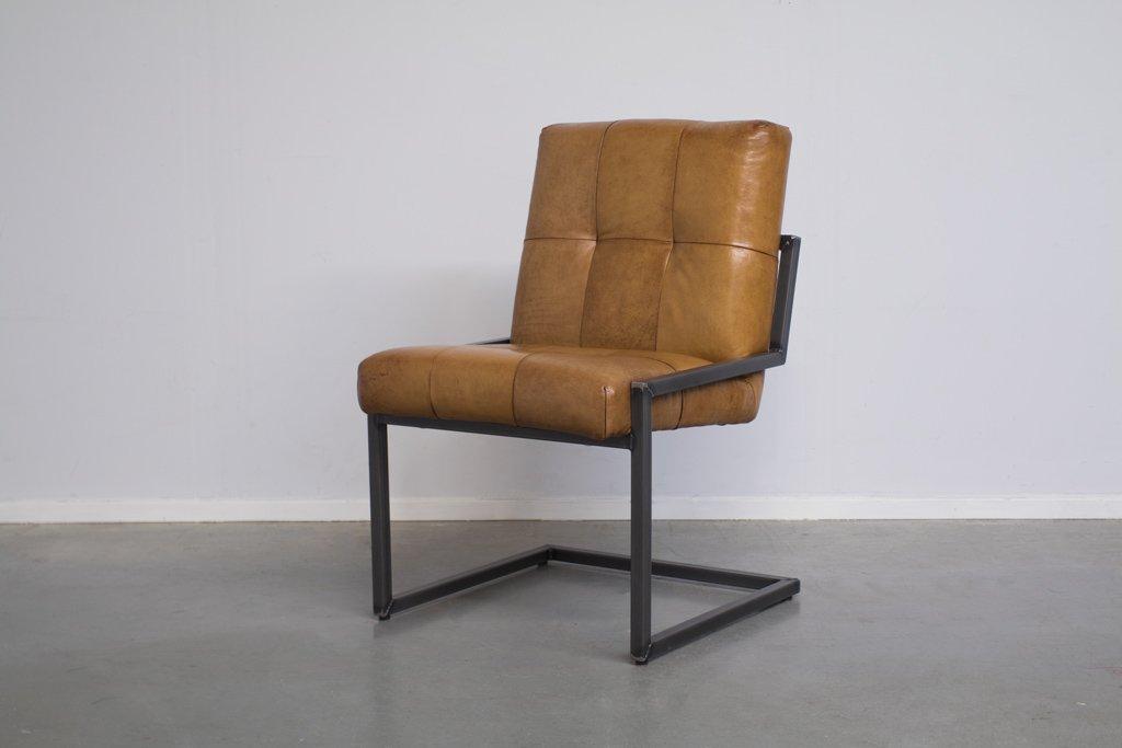 Buffalo Industrie Freischwinger - Vintage Lederstuhl Ohne Arm - Art. 196