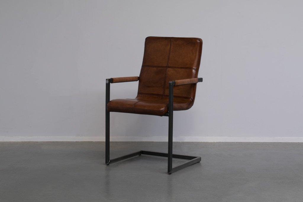 "Buffalo Industrie Freischwinger ""Wave"" - Vintage Lederstuhl Hohe Rückenlehne - Art. 144"