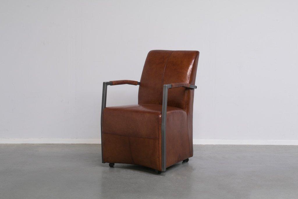 Buffalo Lehnstuhl mit Rollen - Vintage Lederstuhl - Art. 87