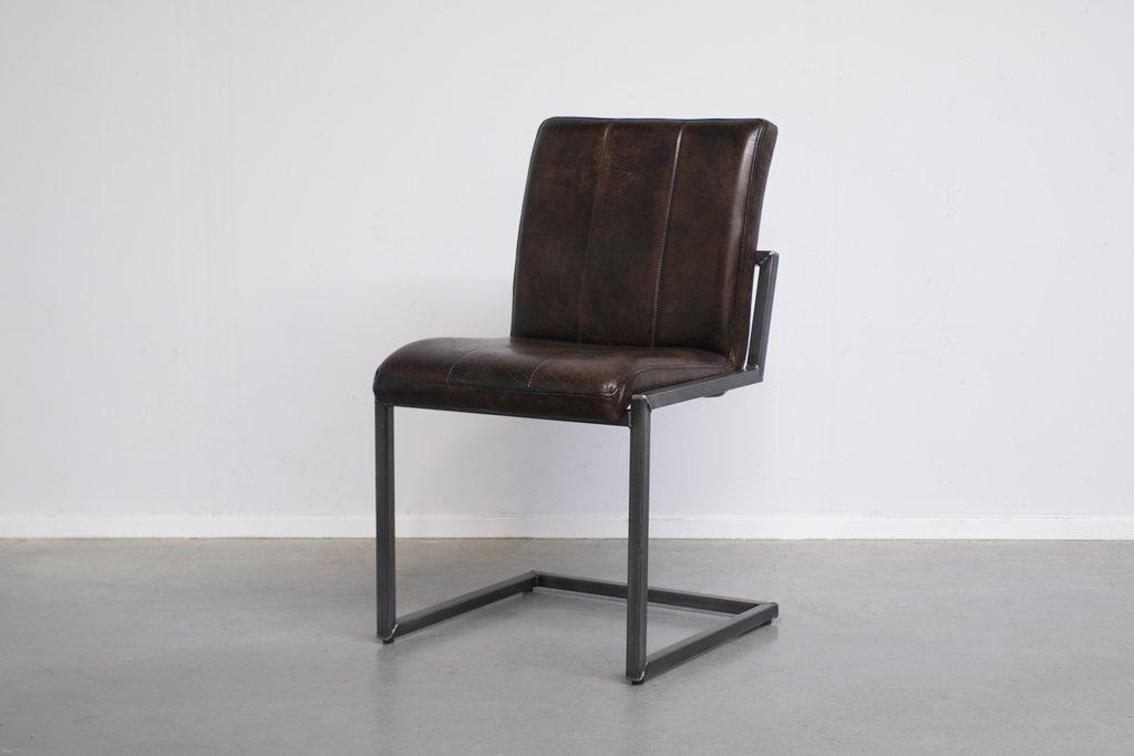 Buffalo Industrie Freischwinger - Vintage Lederstuhl Ohne Arm - Art. 36