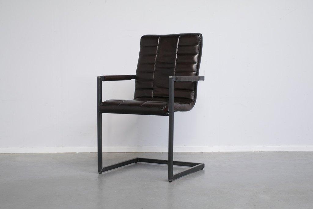 Buffalo Industrie Freischwinger - Vintage Lederstuhl Hohe Rückenlehne - Art. 153