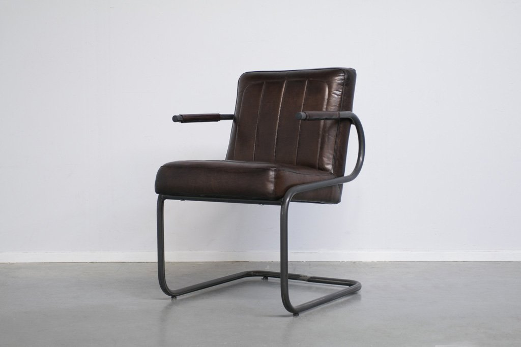 Buffalo Konferenz Freischwinger - Vintage Lederstuhl Runder Rahmen - Art. 252RP