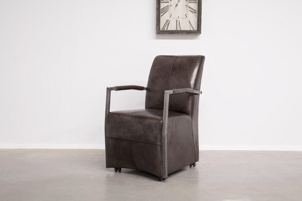Buffalo Lehnstuhl mit Handgriff und Rollen - Vintage Lederstuhl - Art. 87