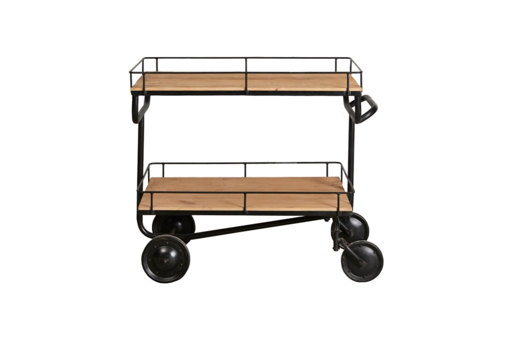 Industrieller Wagen mit 2 Regalbrettern – Metall mit Holz – Art. A102Z