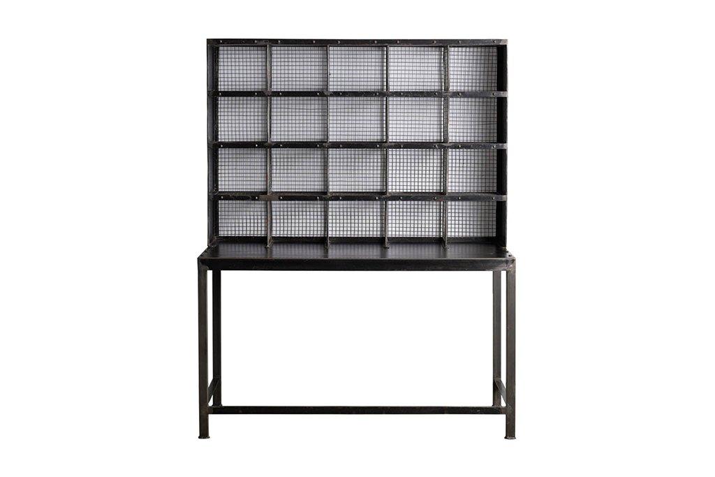 """Industrieller Schreibtisch mit """"Postfächern"""" – Metall – Art. B059"""