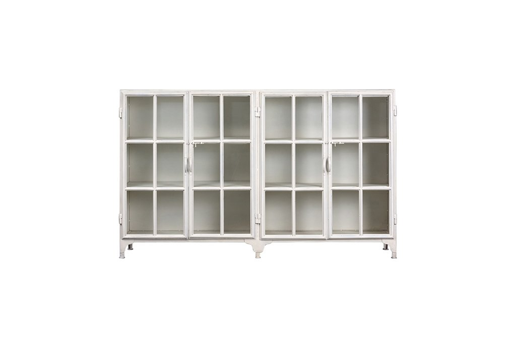 Industrieller Wandschrank mit 4 Glastüren – Metall mit Glas – Art. B108W
