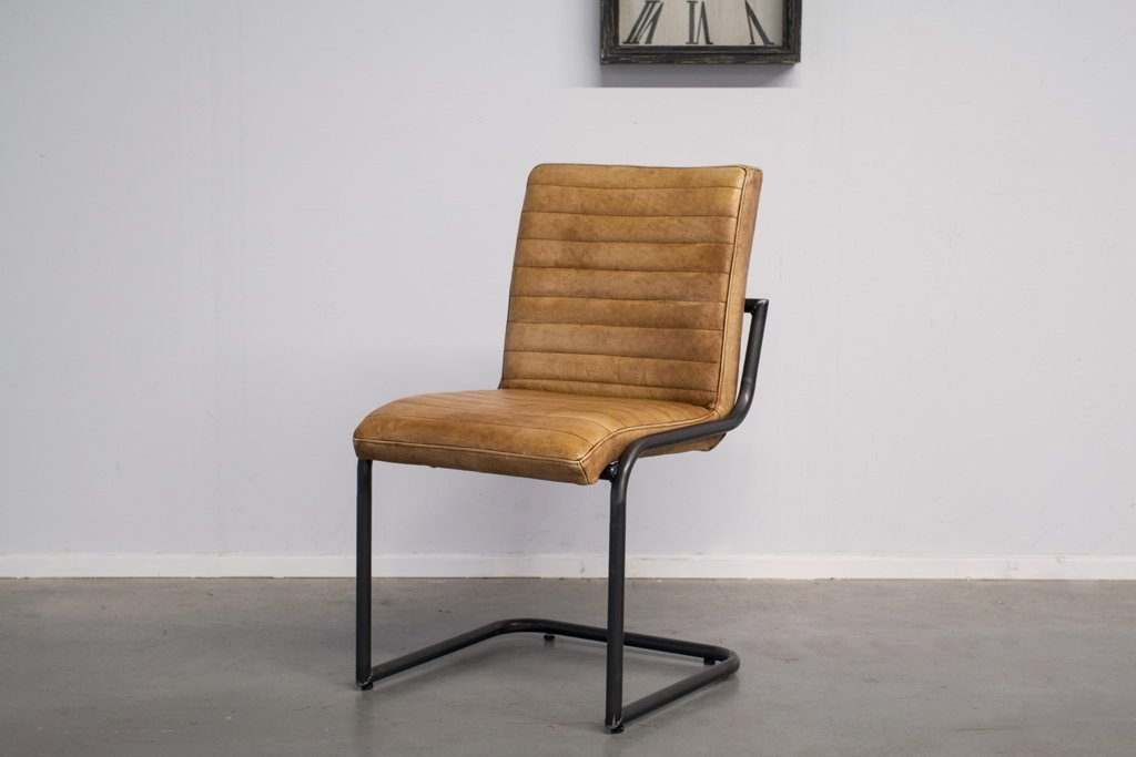 Buffalo Industrie Freischwinger - Vintage Lederstuhl Ohne Arm - Art. 55WR