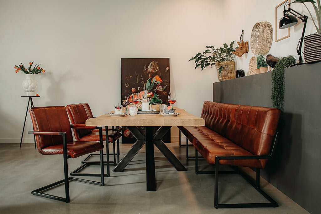 Esszimmergruppe - Esstisch Stahlkreuz 3D + 3 Lederstühle Safira + Sitzbank Olli