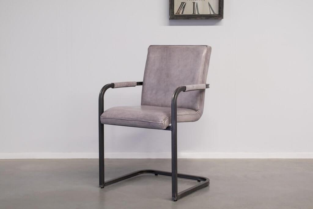 Industrie Freischwinger Soem - Lederstuhl / Stoff Stuhl - Vintage square