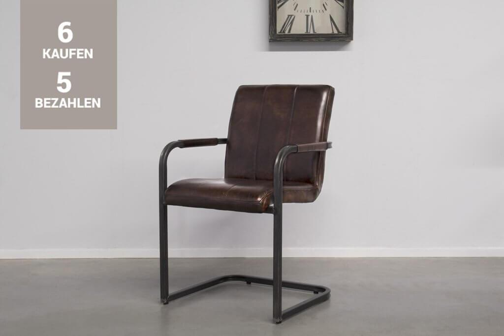 Buffalo Industrie Freischwinger - Vintage Lederstuhl - Art. 36SR